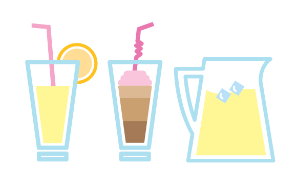 cafe-icons-drinks-ice-cube-straw-lemonade-float-orange-pitcher-beverage-glass-cup