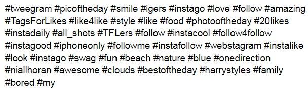 популярные хештеги для instagram для лайков - примеры